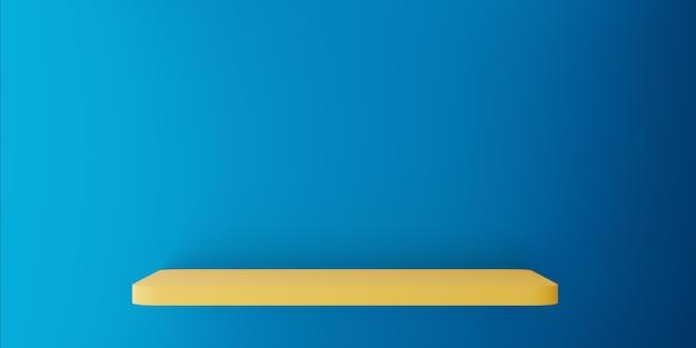 Rendering 3d di mensola vuota giallo blu parete astratto concetto minimo