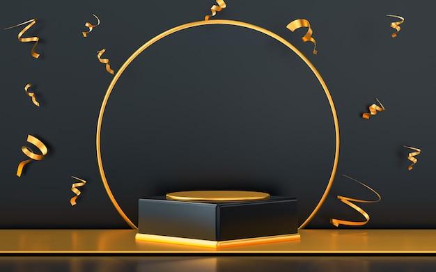 3d che rende l'esposizione del podio dello spazio vuoto con i coriandoli dell'oro