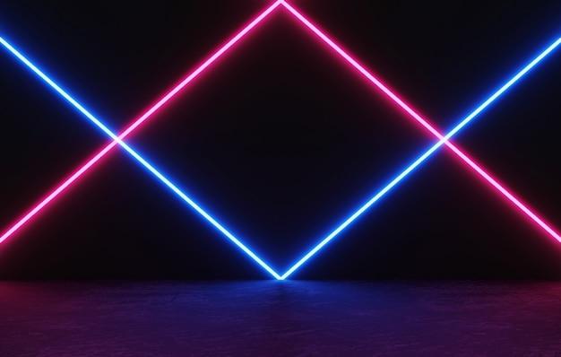 Rendering 3d spazio vuoto per visualizzare il prodotto nero e scuro con luce laser al neon incandescente