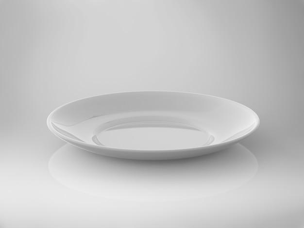 3d rendering piatto bianco vuoto su sfondo bianco