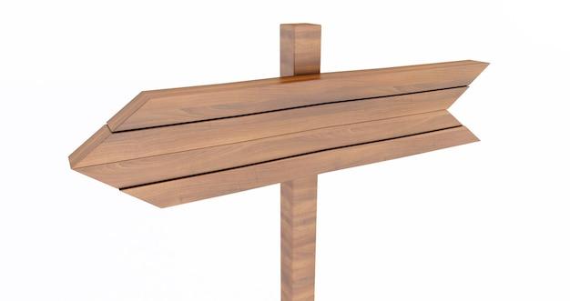 Rendering 3d del cartello in legno vuoto isolato su priorità bassa bianca