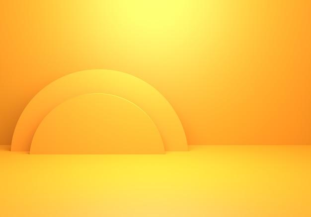 Rendering 3d del fondo di concetto minimo astratto giallo arancio vuoto
