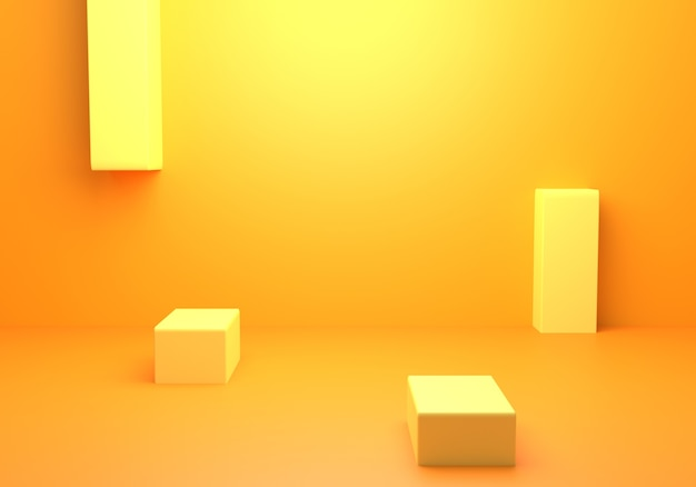 Rendering 3d del concetto minimo astratto giallo arancio vuoto