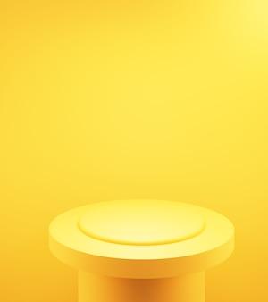 3d rendering di vuoto giallo arancio podio astratto sfondo minimo pubblicità design