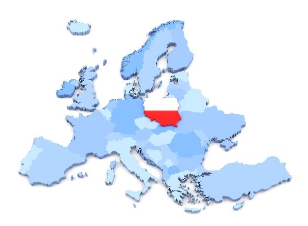 Rendering 3d della mappa dell'europa, polonia con bandiera