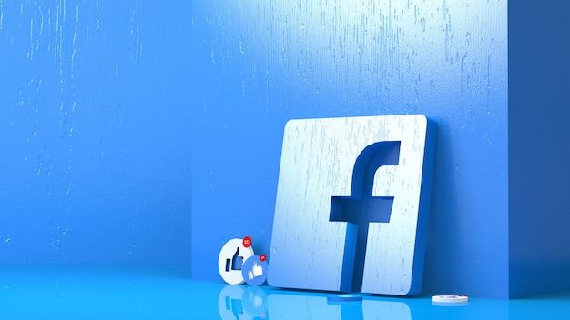 Rendering 3d del logo facebook