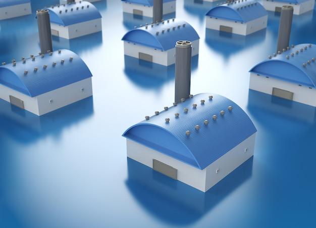 Modello esterno di fabbrica di rendering 3d con ciminiera