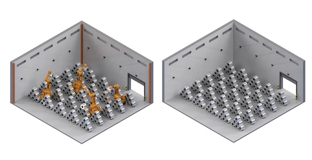 Interni di fabbrica di rendering 3d con mucchio di rulli in acciaio isometrico