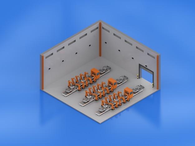 3d che rende l'interno della fabbrica con la linea di assemblaggio del robot isometrica