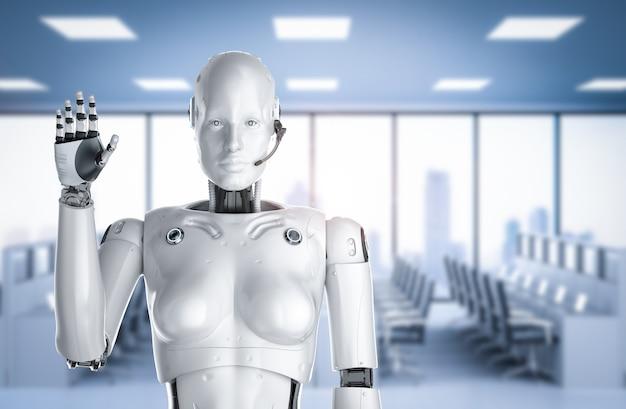 Rendering 3d cyborg femmina o robot con la mano dell'auricolare in alto