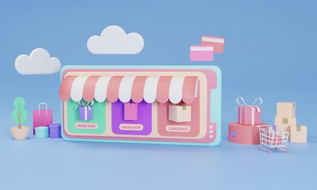 Illustrazione piana di rendering 3d negozio di shopping online su applicazione mobile di smartphone.