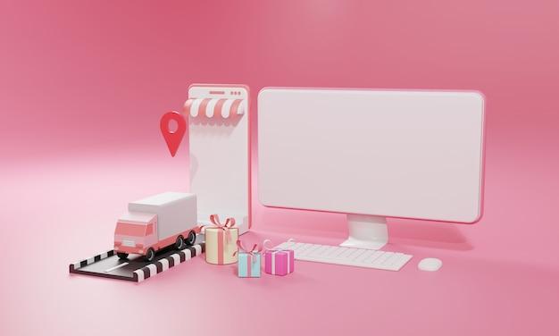 Illustrazione piana di rendering 3d negozio di shopping online su applicazione mobile e spedizione di merci su camion di computer e smartphone. illustrazione premium