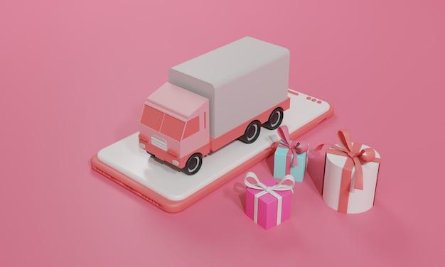 Illustrazione piana di rendering 3d negozio di shopping online su applicazione mobile e spedizione di merci su camion di smartphone. illustrazione premium