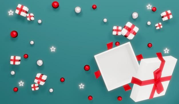 La vista dall'alto delle scatole regalo aperte piatte di rendering 3d mostra uno spazio vuoto all'interno con piccoli regali intorno