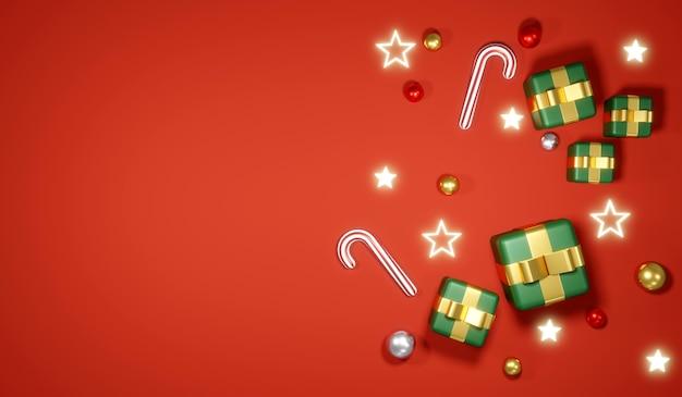 Rendering 3d della confezione regalo flay lay e degli elementi sul concetto di sfondo del modello di banner natalizio