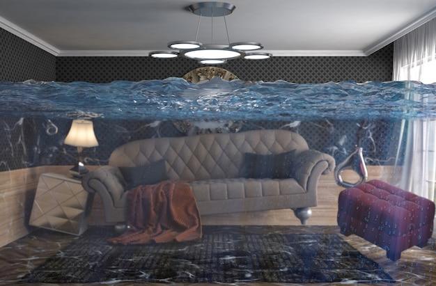 Rappresentazione 3d di una stanza moderna sommersa