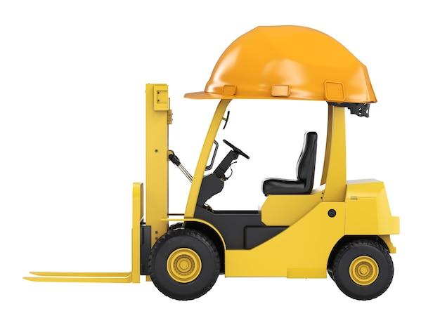 3d rendering carrello elevatore con casco giallo isolato su bianco