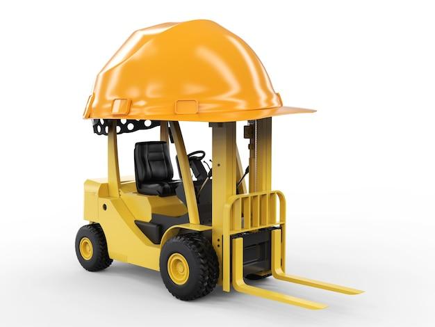 3d rendering carrello elevatore con casco giallo su sfondo bianco