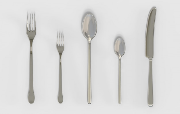 Rendering 3d. forchette cucchiaio e coltello argenteria