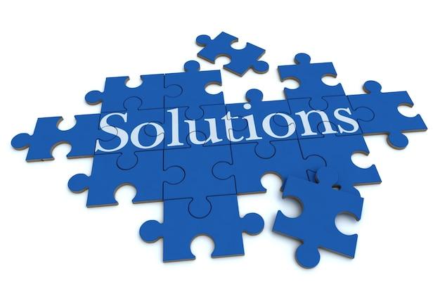Rendering 3d di un puzzle di formazione con la parola soluzioni