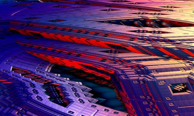 Rendering 3d, frattale di fantascienza sfondo di particelle incandescenti con profondità di campo. le particelle formano la linea e la griglia di superficie. microcosmo o spazio.