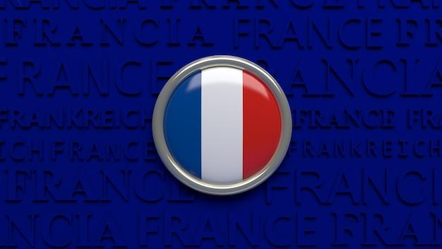 Rendering 3d della bandiera nazionale della francia