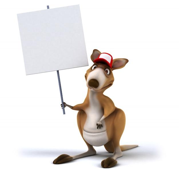 Rappresentazione 3d del canguro divertente