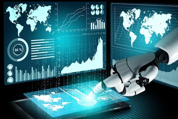 Rendering 3d futuristico sviluppo della tecnologia dei robot, intelligenza artificiale ai e concetto di apprendimento automatico. ricerca scientifica bionica robotica globale per il futuro della vita umana.