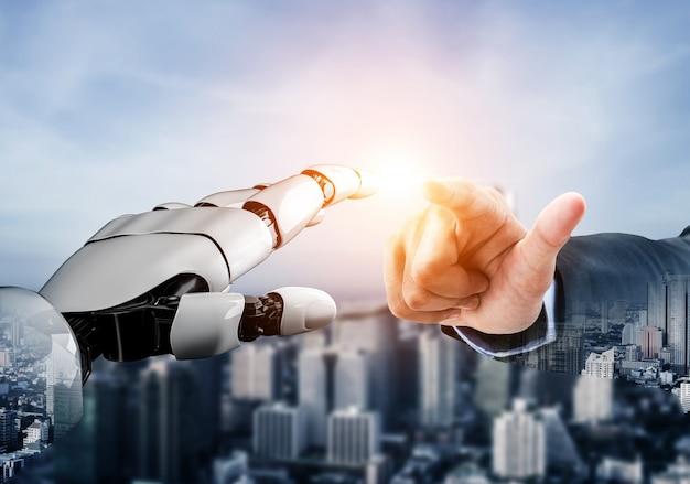 Rendering 3d sviluppo futuristico della tecnologia dei robot, intelligenza artificiale ai e concetto di apprendimento automatico