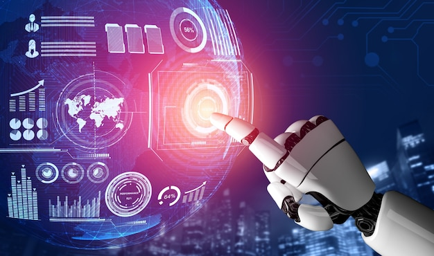 Rendering 3d sviluppo futuristico della tecnologia dei robot, intelligenza artificiale ai