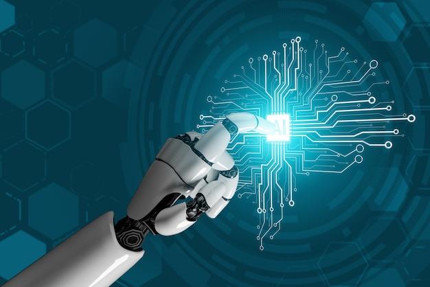 Rendering 3d futuristico sviluppo della tecnologia dei robot