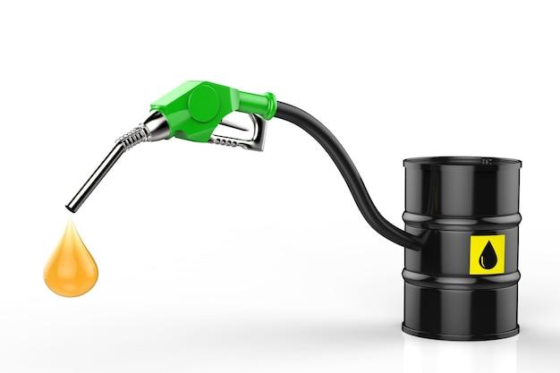 Ugello per gas di rendering 3d con gocciolina di olio e barile di petrolio greggio