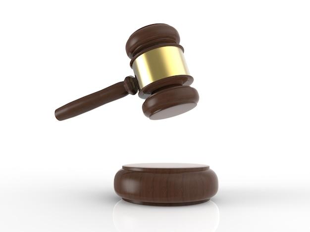 Giudice del martelletto della rappresentazione 3d su fondo bianco