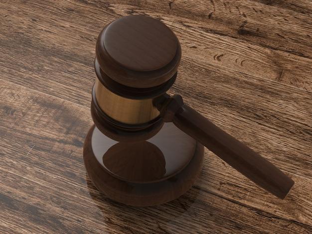 Giudice del martelletto della rappresentazione 3d su fondo di legno