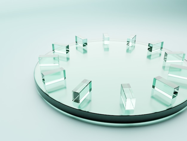 3d che rende il fondo dell'esposizione del prodotto delle lastre di vetro acrilico di forma geometrica o astratta dell'orologio