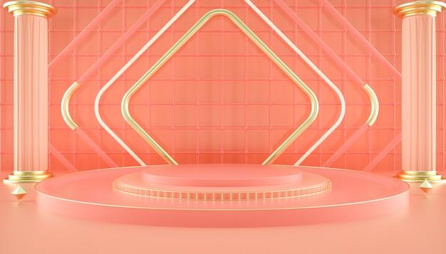 Rendering 3d di forma geometrica con piedistallo circolare per l'esposizione del prodotto