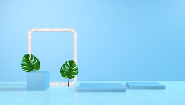 Rendering 3d di forma geometrica con sfondo azzurro per la visualizzazione del prodotto