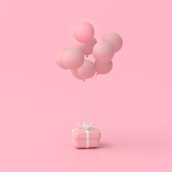 Rendering 3d di confezioni regalo e palloncini. concetto minimo.