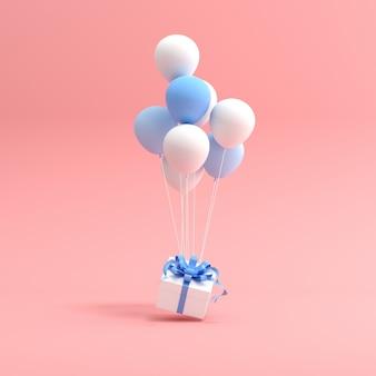 Rendering 3d di confezione regalo e palloncini su sfondo rosa.