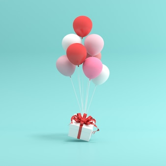 Rendering 3d di confezione regalo e palloncini.