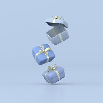 Rendering 3d di scatole regalo su sfondo blu.