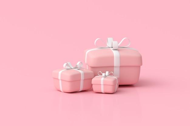 Rendering 3d di scatole regalo su sfondo rosa.