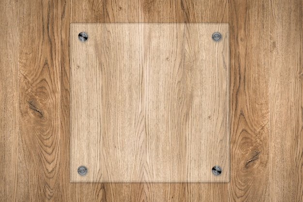 3d rendering pannello di vetro o cornice acrilica su fondo in legno