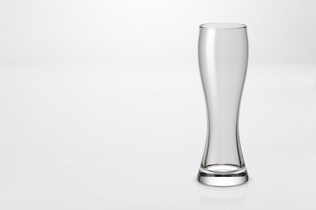 Rendering 3d di un bicchiere di birra leggera isolato su bianco