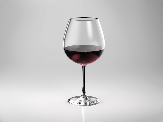 3d rendering bicchiere di vino rosso o bordeaux