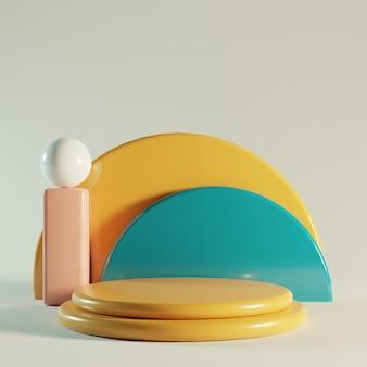 Podio lucido di rendering 3d con colori pastello.