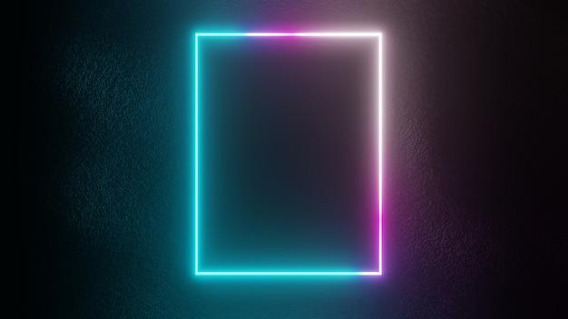 Rendering 3d di cerchi al neon luminosi e cornici quadrate sullo sfondo della parete della lastra di cemento