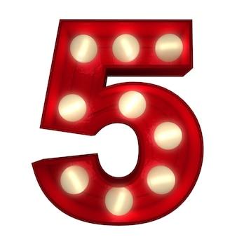 Rendering 3d di un numero 5 luminoso ideale per i segni dello spettacolo