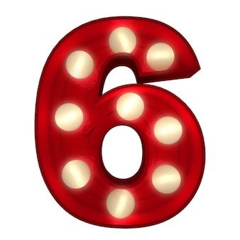 Rendering 3d di un numero luminoso 6 ideale per i segni dello spettacolo