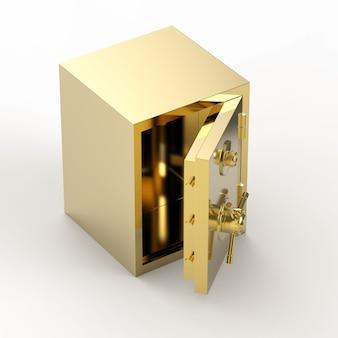 Cassaforte della banca dell'oro di rendering 3d o caveau di una banca aperto